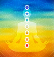 Yoga pose with chakra icons vector image