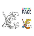 young girl with a broom coloring page vector image vector image