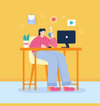 young woman with coffee cup and laptop on desk vector image vector image