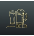 Hand drawn mug of beer in old slyle vector image