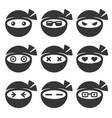 ninja face icons set vector image