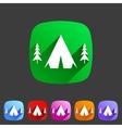 Tourist camp tent icon flat web sign symbol logo vector image