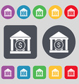 bank icon sign A set of 12 colored buttons Flat vector image