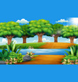 beautiful park with rivers and green trees vector image