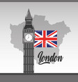 big ben london map and flag british landmark vector image