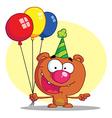 Birthday bear cartoon vector image vector image