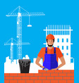 builder builds brick wall of house worker vector image