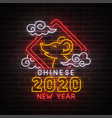 chinese new year neon sign bright signboard vector image vector image