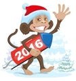 Christmas monkey wearing a Santa Claus brings vector image