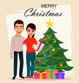 christmas postcard with young couple vector image vector image