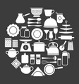 cooking set kitchenware silhouette icons vector image vector image
