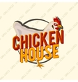 Creative logo design with realistic chicken vector image vector image