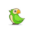 cute green parrot on white background vector image vector image