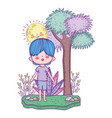 cute little boy with sun kawaii in the landscape vector image vector image
