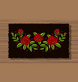 embroidery flowers with sprigs on a dark flap vector image vector image