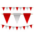 festive red and white flags on white background vector image vector image