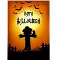Halloween scarecrow at sunset vector image vector image