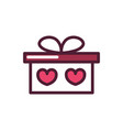 happy valentines day gift box surprise hearts love vector image
