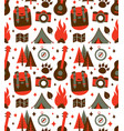 hipster nature travel adventure seamless pattern vector image vector image