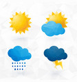 icons for weather with sun and cloud motif with vector image vector image