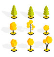 isometric autumn trees set low poly vector image