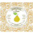 Jam label design template for pear dessert product vector image