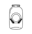 line long mason glass with sticker and branches vector image vector image