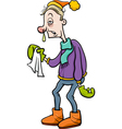 man with flu cartoon vector image