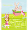Maze game - sweet girl and Easter Bunny vector image