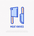 meat knives thin line icon vector image vector image