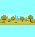 natural landscape around highway view garden vector image vector image