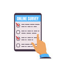 online survey tablet computer with test form vector image