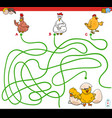 paths maze game with hens and chickens vector image