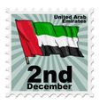post stamp of national day of United Arab Emirates vector image