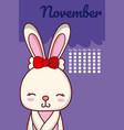 rabbit cute calendar design vector image