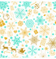 seamless pattern of snowflakes and christmas vector image vector image