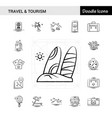 set of 17 travel and tourism hand-drawn icon set vector image vector image