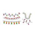 set of 5 different festive garlands hand vector image