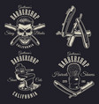 set of vintage barbershop emblems vector image vector image