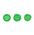 set plastic free green eco friendly design vector image vector image