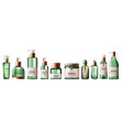 set various health care and spa green bottles vector image vector image