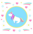 sitting unicorn legend mysterious horse vector image