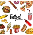 Sketch style hand drawn fast food frame vector image