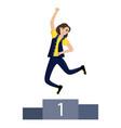 the girl jumps joyful the girl won first vector image vector image