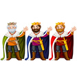 Three kings wearing crown and robe vector image vector image