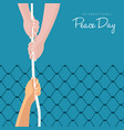 world peace day freedom help card concept vector image vector image