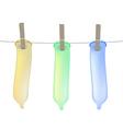 Condoms on clothesline vector image