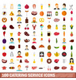 100 catering service icons set flat style vector image vector image