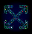 2d mesh enlarge arrows with glowing spots vector image