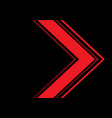 abstract red light arrow direction on black blank vector image vector image